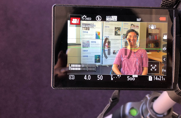 BCPP Communications Intern Maria on camera film