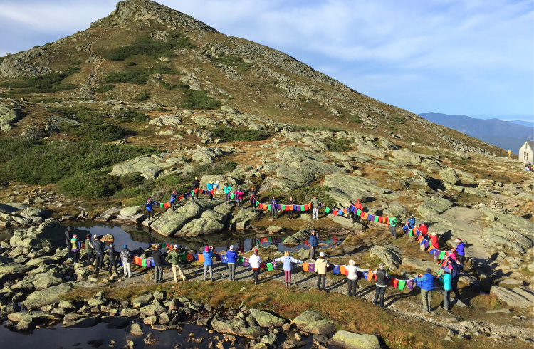 New England Peaks for Prevention_prayer flags fly on Mt. Washington