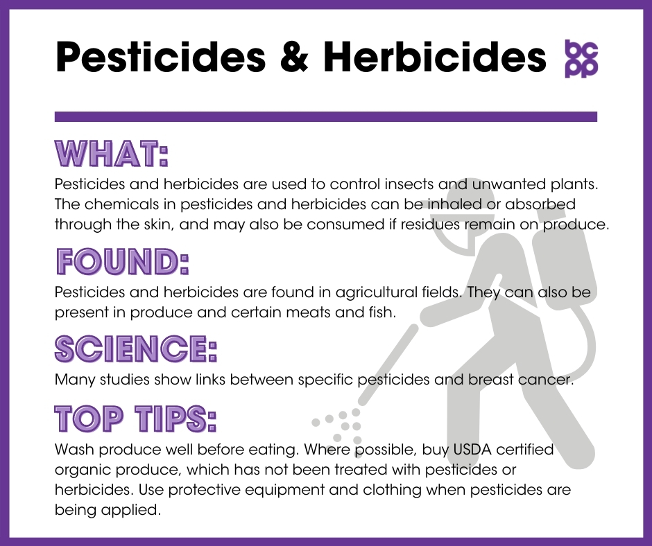 Pesticides & Herbicides breast cancer prevention tip card infographic